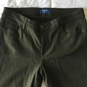 Old Navy olive green mid-rise rockstar skinny jean